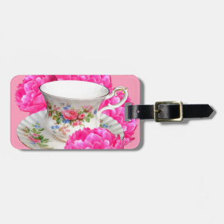 PINK PEONIES TEA TIME ART LUGGAGE TAG