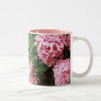 pink peonies Two-Tone coffee mug