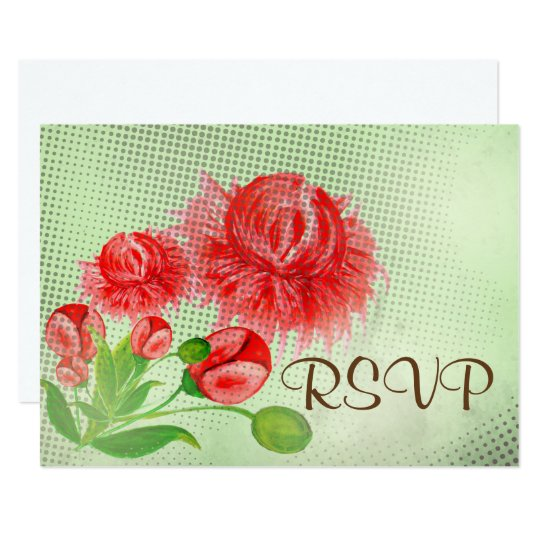 Pink peonies vintage flower design card