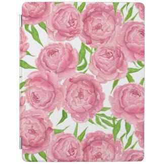 Pink peonies watercolor iPad cover
