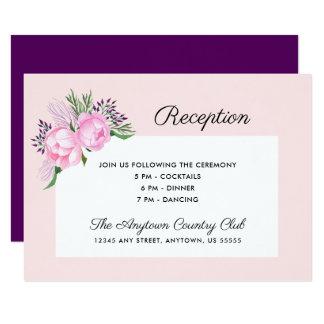 Pink Peonies Watercolor   Reception Card