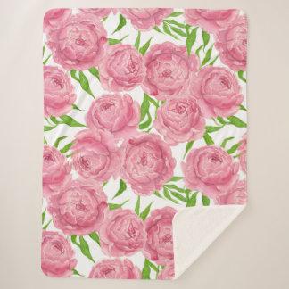 Pink peonies watercolor sherpa blanket
