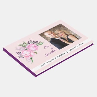 Pink Peonies Watercolor Wedding Guest Book