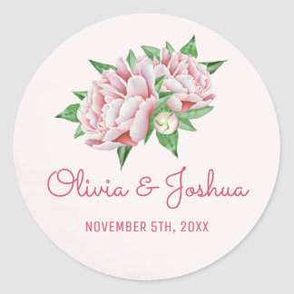 Pink Peonies Watercolor Wedding Stickers