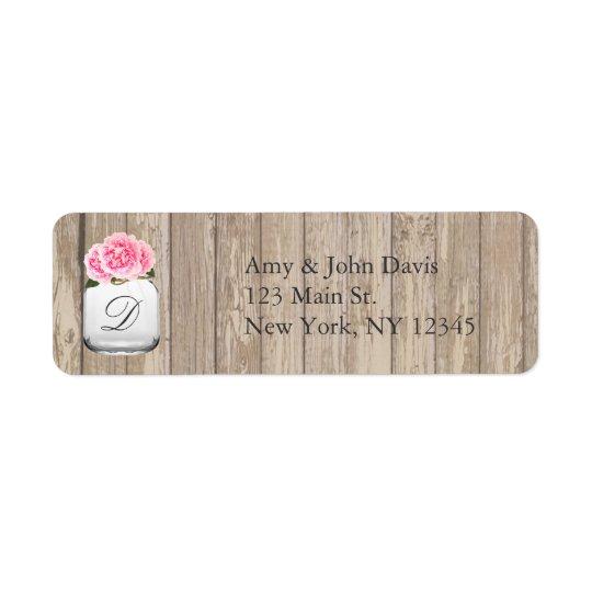 Pink peonies wedding address labels peony2