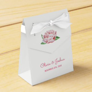 Pink Peonies Wedding Favor Boxes