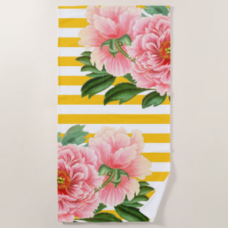 Pink Peonies Yellow Stripes Beach Towel