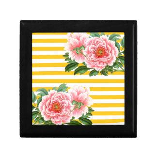 Pink Peonies Yellow Stripes Gift Box