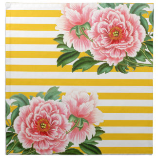Pink Peonies Yellow Stripes Napkin