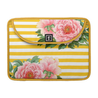 Pink Peonies Yellow Stripes Sleeve For MacBooks