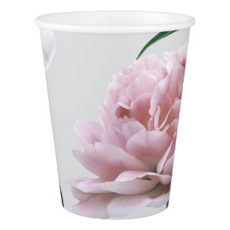 Pink Peony and White lily Floral Paper Cups