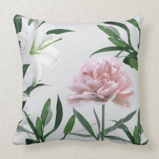 Pink Peony and White lily Floral Throw Pillow