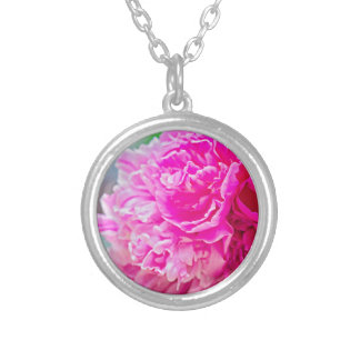 Pink peony beauty silver plated necklace