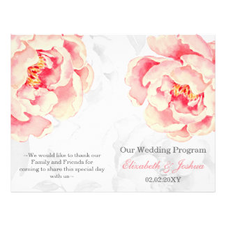 Pink Peony Bifold wedding program