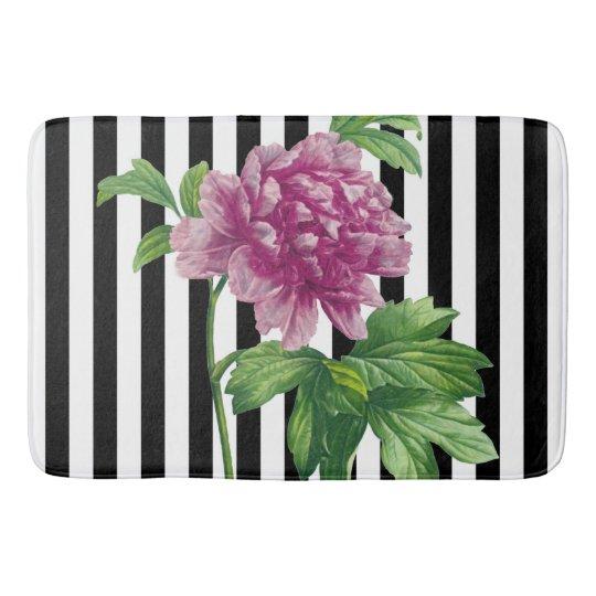 Pink Peony Black Stripe Chic Bath Mat