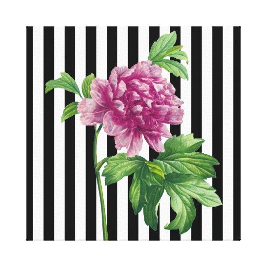 Pink Peony Black Stripe Chic Canvas Print