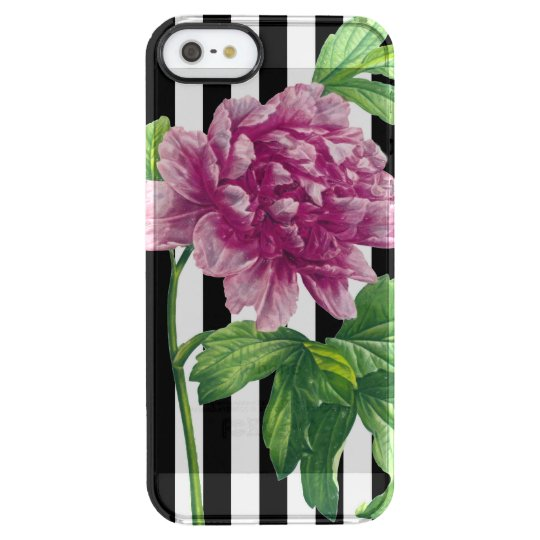 Pink Peony Black Stripe Chic Clear iPhone SE/5/5s Case