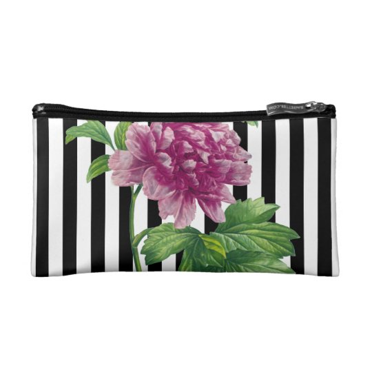 Pink Peony Black Stripe Chic Cosmetic Bag