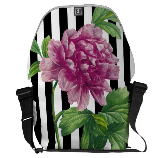 Pink Peony Black Stripe Chic Courier Bag