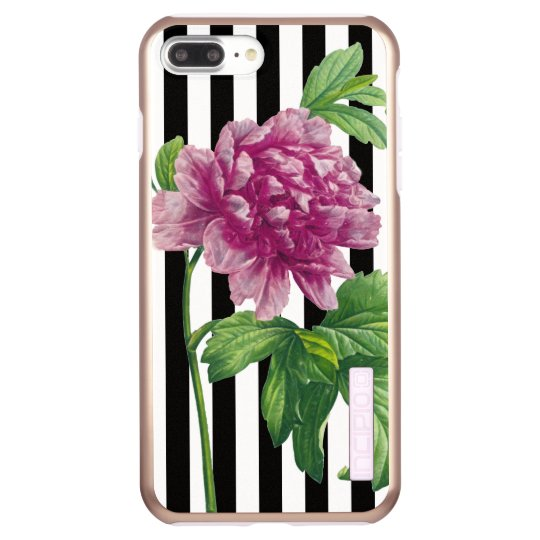 Pink Peony Black Stripe Chic Incipio DualPro Shine iPhone 8 Plus/7 Plus Case