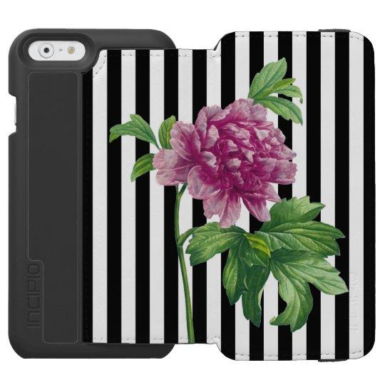 Pink Peony Black Stripe Chic Incipio Watson™ iPhone 6 Wallet Case