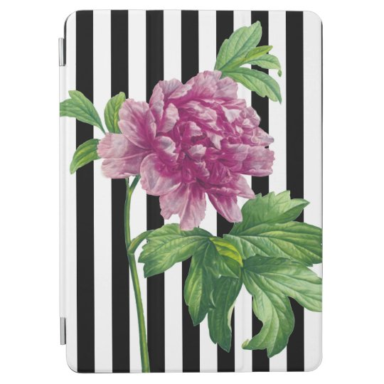 Pink Peony Black Stripe Chic iPad Air Cover