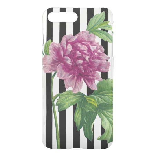 Pink Peony Black Stripe Chic iPhone 8 Plus/7 Plus Case