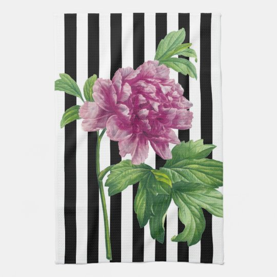 Pink Peony Black Stripe Chic Kitchen Towel