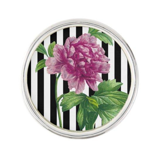 Pink Peony Black Stripe Chic Lapel Pin