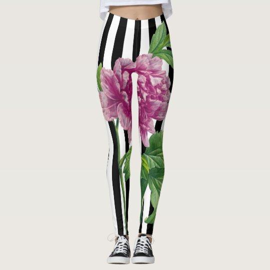 Pink Peony Black Stripe Chic Leggings