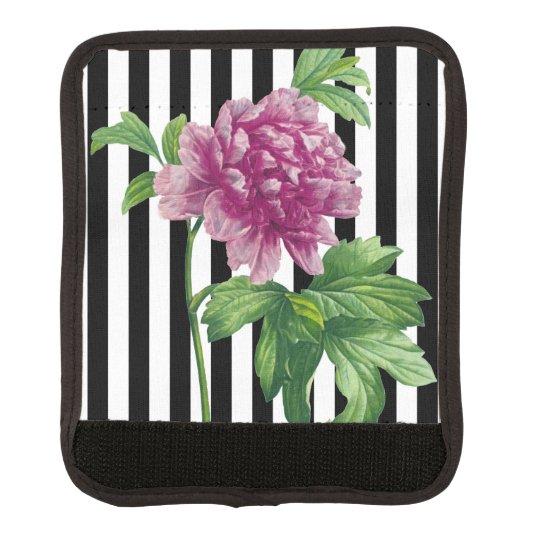 Pink Peony Black Stripe Chic Luggage Handle Wrap