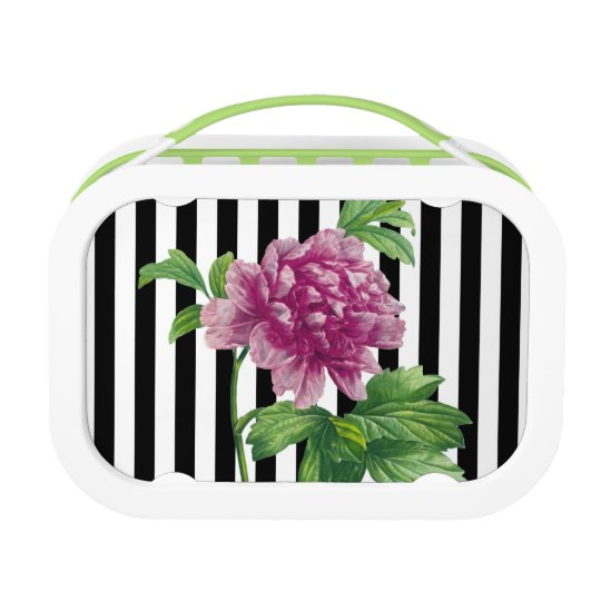 Pink Peony Black Stripe Chic Lunch Box