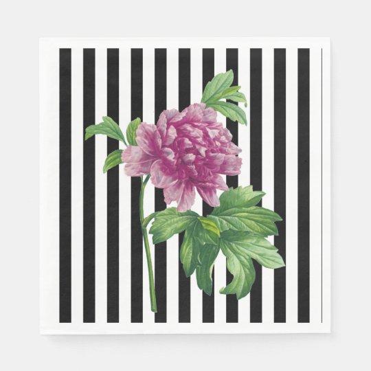 Pink Peony Black Stripe Chic Napkin