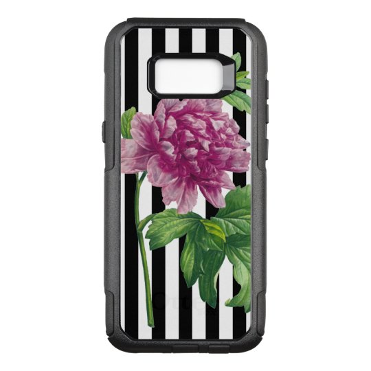 Pink Peony Black Stripe Chic OtterBox Commuter Samsung Galaxy S8+ Case