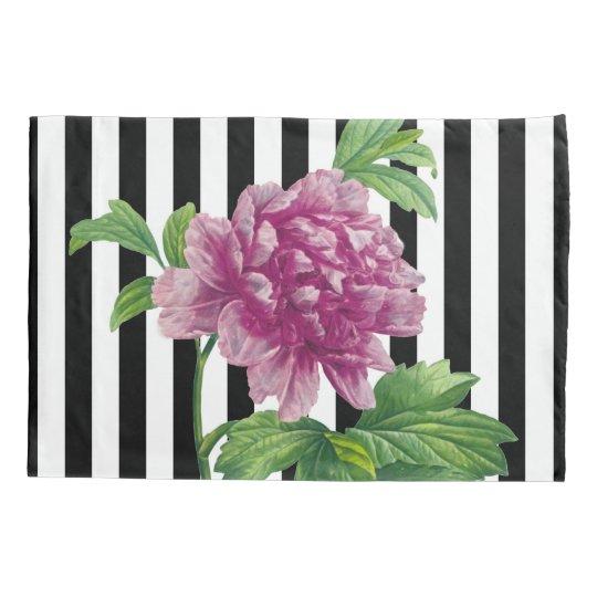 Pink Peony Black Stripe Chic Pillowcase