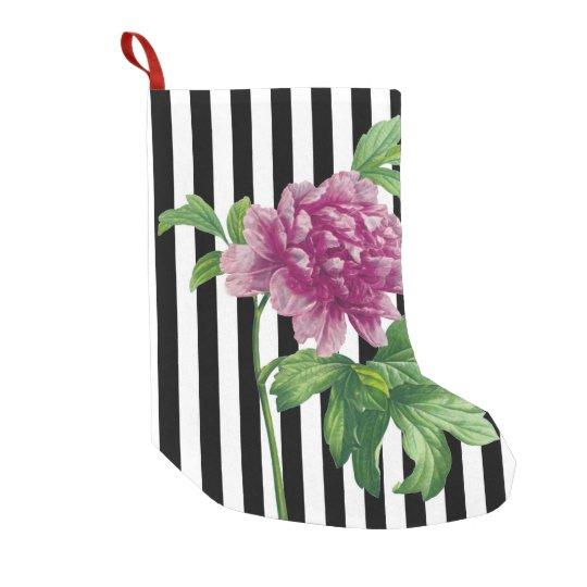 Pink Peony Black Stripe Chic Small Christmas Stocking