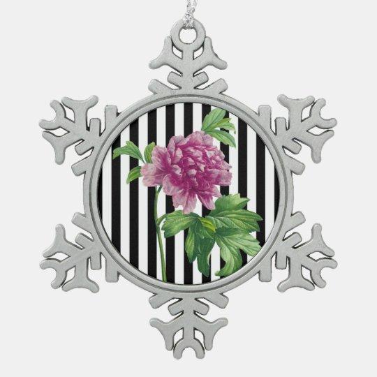 Pink Peony Black Stripe Chic Snowflake Pewter Christmas Ornament