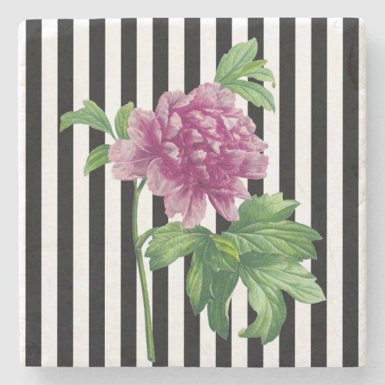 Pink Peony Black Stripe Chic Stone Coaster
