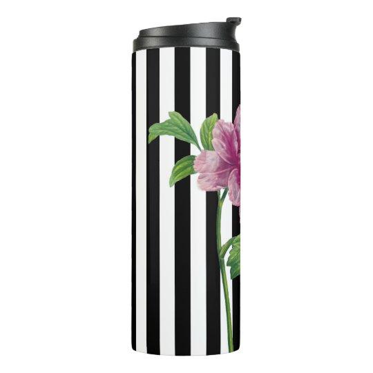Pink Peony Black Stripe Chic Thermal Tumbler