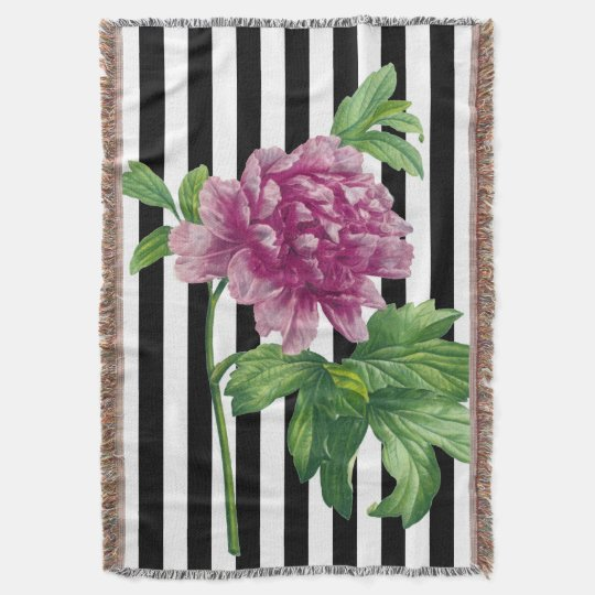 Pink Peony Black Stripe Chic Throw Blanket