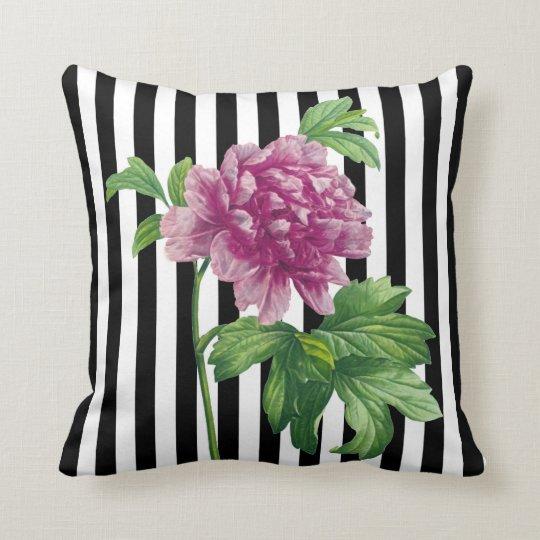 Pink Peony Black Stripe Chic Throw Pillow