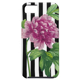 Pink Peony Black Stripes Chic Case For The iPhone 5