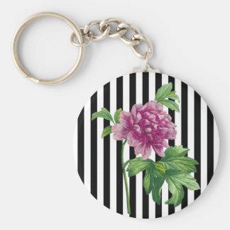 Pink Peony Black Stripes Chic Keychain