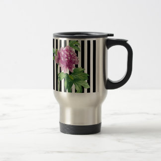 Pink Peony Black Stripes Chic Travel Mug