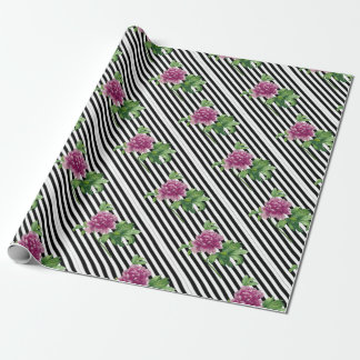 Pink Peony Black Stripes Chic Wrapping Paper