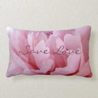 Pink Peony Blossom. Lumbar Pillow