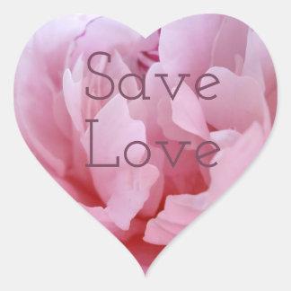 Pink Peony Blossom.text. Heart Sticker