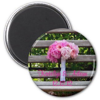 Pink Peony Bridal Bouquet 2 Inch Round Magnet