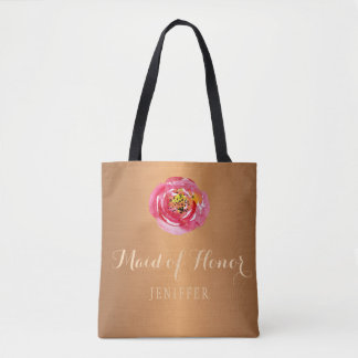 Pink peony copper bronze wedding maid of honor tote bag