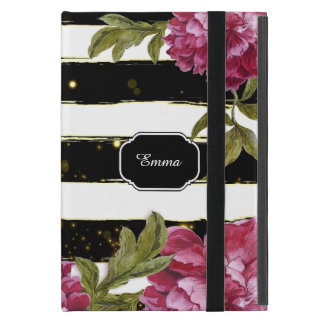 Pink Peony Floral Black White Stripe iPad Mini Cover